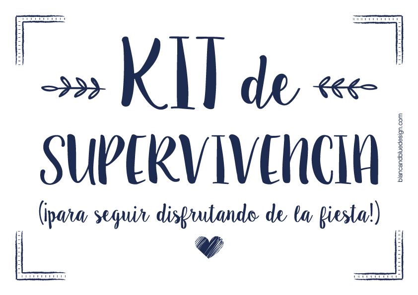 Cartel Kit de Supervivencia para bodas