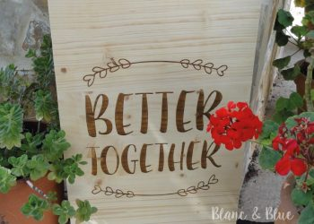 cartel madera para boda con mensaje better together
