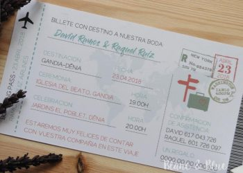 invitación boda billete avió boarding pass
