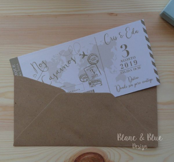 invitacion boda billete avion boarding pass elegante en kraft