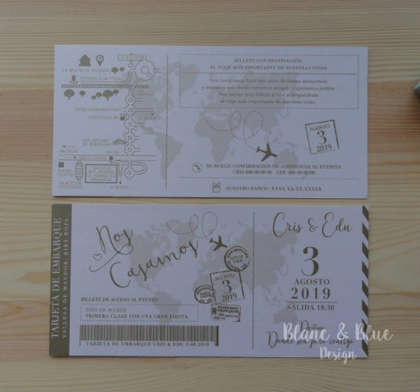 invitacion boda billete avion boarding pass elegante