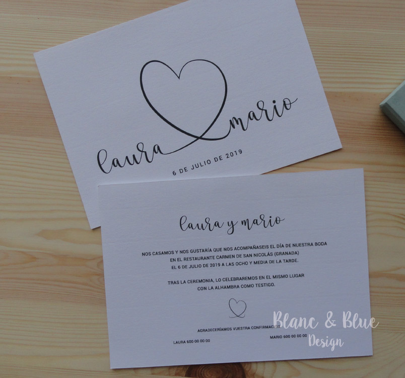 invitacion boda formal clasica con corazon