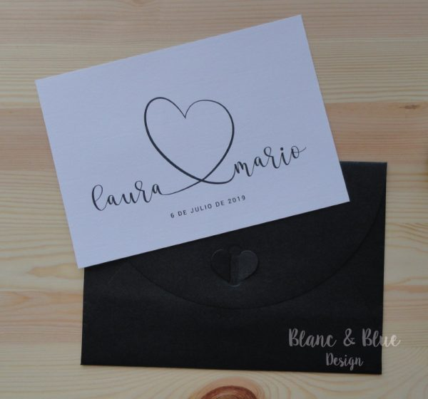 invitacion boda formal clasica con sobre corazon