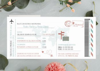 invitacion boda informal billete avion moderno