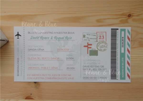 Invitación boda billete de avión boarding pass